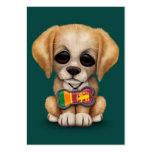 Perrito lindo con la placa de identificación srila plantilla de tarjeta de negocio