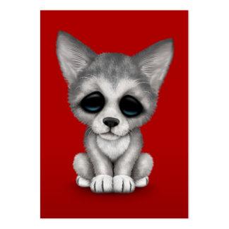 Perrito lindo de Cub de lobo gris en rojo Plantillas De Tarjetas De Visita