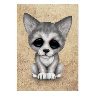 Perrito lindo de Cub de lobo gris en textura Tarjeta De Negocio