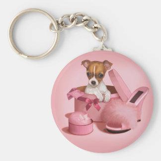 Perrito lindo de la chihuahua en Hatbox Llaveros Personalizados