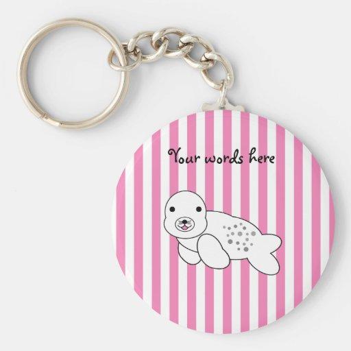 Perrito lindo de la cría de foca llavero personalizado