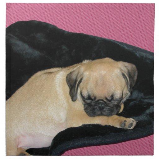 Perrito lindo del barro amasado el dormir servilleta