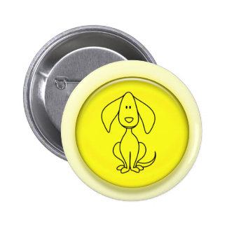 perrito lindo del dibujo animado 3D Pin Redondo 5 Cm