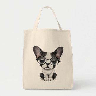 Perrito lindo del dogo francés con los vidrios bolsa tela para la compra