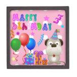 Perrito lindo del feliz cumpleaños con rosa de la  caja de joyas de calidad
