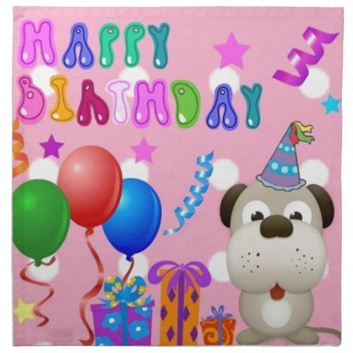 Perrito lindo del feliz cumpleaños con rosa de la  servilleta de papel