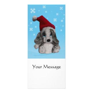 Perrito lindo del navidad en señal del gorra de plantilla de lona