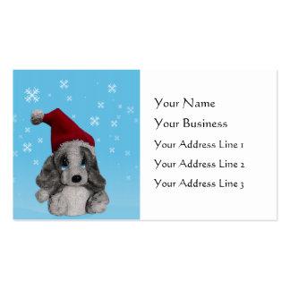 Perrito lindo del navidad en señales del gorra de tarjetas de negocios
