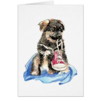 Perrito lindo del pastor alemán, perro, animal de  tarjeta de felicitación