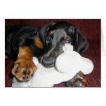 Perrito lindo del Pinscher del Doberman - tarjeta