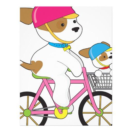 Perrito lindo en la bici plantillas de membrete