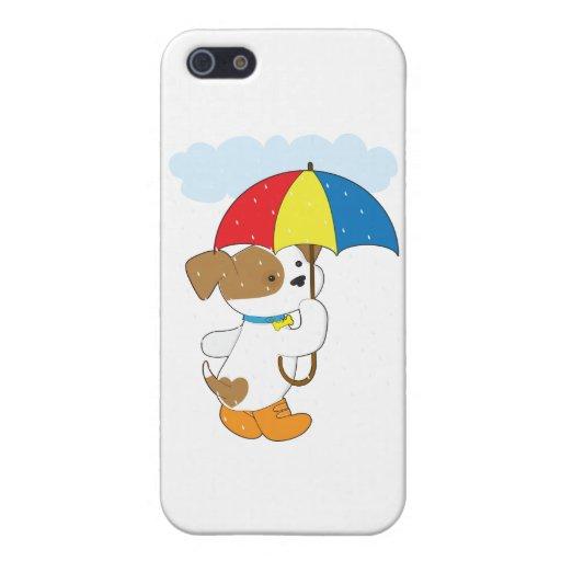 Perrito lindo en lluvia iPhone 5 fundas