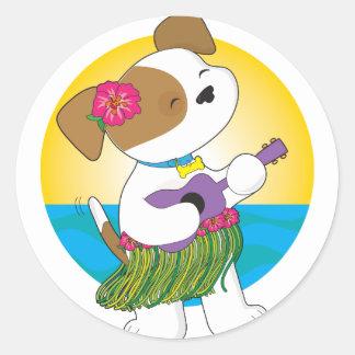 Perrito lindo Hawaii Pegatina Redonda