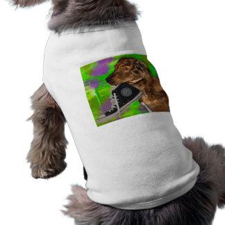 Perrito lindo que ase hola una zapatilla de deport playera sin mangas para perro