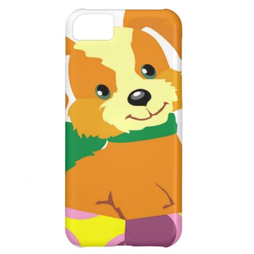Perrito lindo que se sienta en una tapa de la caja funda para iPhone 5C