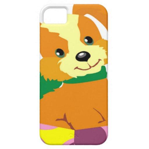 Perrito lindo que se sienta en una tapa de la caja iPhone 5 carcasas