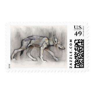 Perrito magro timbre postal