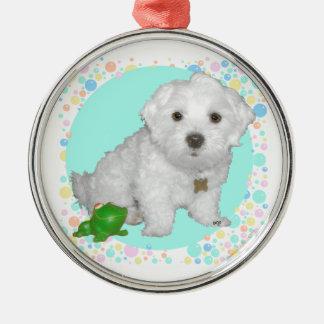 Perrito maltés con las burbujas ornamento para arbol de navidad