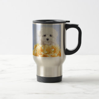 Perrito maltés taza de viaje