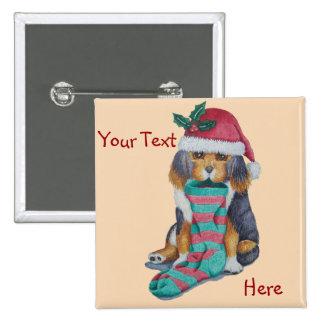 perrito marrón lindo con el navidad que almacena pin cuadrado