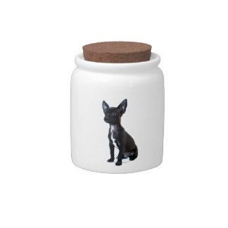 Perrito negro de la chihuahua platos para caramelos