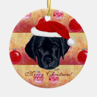Perrito negro de Labrador del navidad Adorno Navideño Redondo De Cerámica