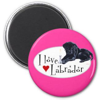 Perrito negro de Labrador Imán Redondo 5 Cm