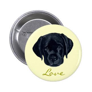 Perrito negro de Labrador Pin Redondo De 2 Pulgadas