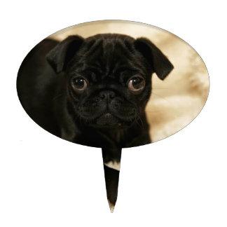 Perrito negro del barro amasado decoraciones para tartas