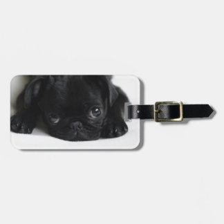 Perrito negro del barro amasado etiquetas para maletas