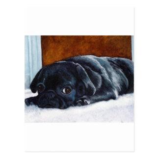 Perrito negro del barro amasado postal