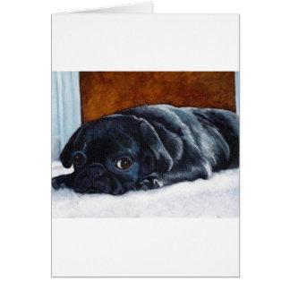 Perrito negro del barro amasado felicitaciones
