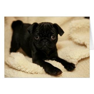 Perrito negro del barro amasado tarjeta de felicitación