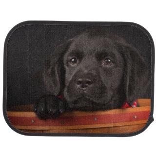Perrito negro del labrador retriever en una cesta alfombrilla de auto