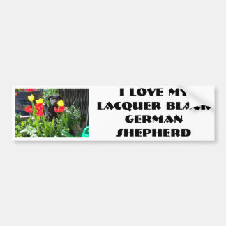 Perrito negro del pastor alemán de la laca etiqueta de parachoque