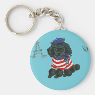 Perrito negro pequeno del caniche de lunes Chou Llavero Redondo Tipo Pin