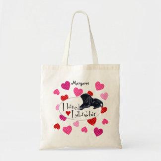 Perrito negro personalizado de Labrador Bolsas De Mano