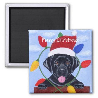 Perrito negro Santa de Labrador Imán Cuadrado