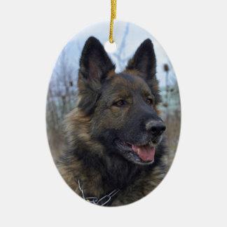 perrito negro y del moreno hermoso del pastor adorno ovalado de cerámica