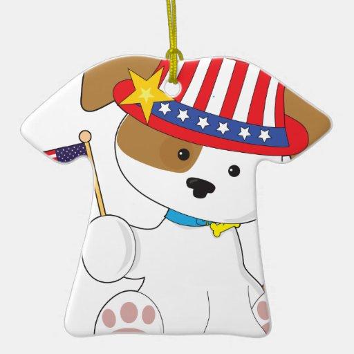 Perrito patriótico adorno de cerámica en forma de playera
