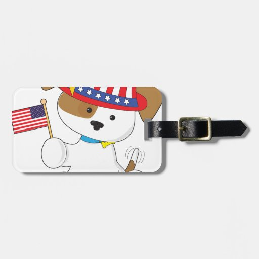 Perrito patriótico etiqueta para maleta