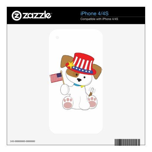 Perrito patriótico iPhone 4 skins