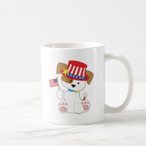 Perrito patriótico taza de café