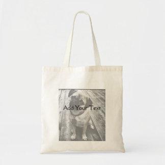 Perrito precioso del barro amasado en blanco y neg bolsa tela barata
