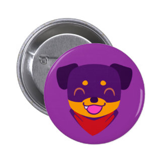 Perrito púrpura de Kawaii Rottweiler Pin Redondo De 2 Pulgadas
