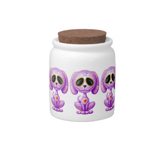 Perrito púrpura del azúcar del zombi jarras para caramelos
