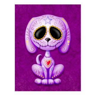 Perrito púrpura del azúcar del zombi tarjeta postal