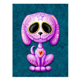 Perrito púrpura y azul del azúcar del zombi postal