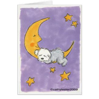 Perrito que duerme en la luna tarjeta de felicitación