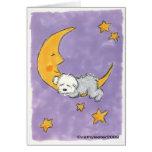 Perrito que duerme en la luna tarjetón
